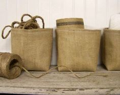 set of three burlap baskets burlap basket by JenniferHeleneHome