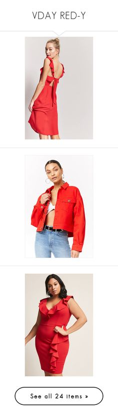 """""""VDAY RED-Y"""" by forever21 ❤ liked on Polyvore featuring dresses, red, frill dress, v neck ruffle dress, flutter-sleeve dresses, cut out dresses, cut out cocktail dress, outerwear, jackets and collar jacket"""