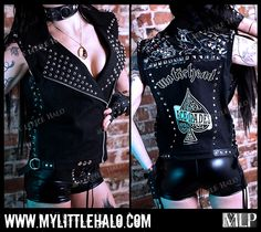 Motorhead Sleeveless Studded Jacket by My Little Halo http://mylittlehalo.com/motorhead-sleeveless-studded-jacket-size-10-12-14/