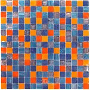 "Vicenza Mosaico Glass Tiles USA - 3/4"" Blends Film-Faced Sheets in Justice - ( TRE-43946 )"