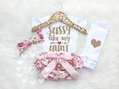 Baby Girl Clothes, Baby Girls Outfit, Sassy Like My Aunt, Auntie, Girl's Clothing Set, Glitter Clothes, Baby Shower Gift, Best Aunt, Niece
