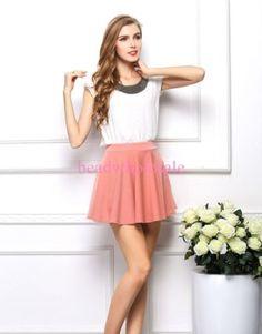 New-Fashion-Womens-Ladies-Chiffon-Short-Sleeve-T-Shirt-Casual-Tops-Beads-Blouse
