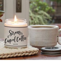 I really want a coffee scented candle- could this be it? Strong Cup of Coffee Scented Candle 8 oz Candle Unique Candles, Luxury Candles, Handmade Candles, Soy Candles, Scented Candles, Candle Jars, Coffee Candle, Coffee Cups, Coffee Coffee