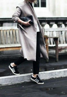 Long coat with black sneakers