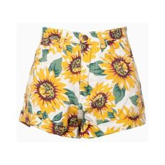 Sunflower Print High Waist Denim Shorts in White (115 BRL) ❤ liked on Polyvore featuring shorts, choies, denim shorts, high rise shorts, highwaisted jean shorts, short jean shorts and jean shorts