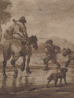 "OSTADE (van) Isaac,1644-49 - Paysage avec Voyageurs (drawing, dessin, disegno-Custodia) - Detail -o - TAGS/ details détail détails detalles ""dessins 17e"" ""17th-century drawings"" ""dessins hollandais"" ""Dutch drawings"" ""Dutch painters"" ""peintres hollandais"" Paris France Holland Hollande animal animaux animals man men hommes paysan dog pet chien Isaack tree trees nature arbres chevaux cheval horse traveller ox boeufs boeuf oxes agriculture countryside campagne landscape Isaack road chemin camino"