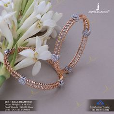 Real Diamond Bangles jewellery for Women by jewelegance. ✔ Certified Hallmark Premium Gold Jewellery At Best Price Gold Jewelry Simple, Rose Gold Jewelry, Rose Gold Bangles, Indian Gold Bangles, Crystal Jewelry, Gold Bangles Design, Gold Jewellery Design, Designer Bangles, Diamond Bangle