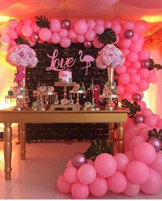 Uploaded from Pinterest Flamingo Baby Shower, Flamingo Birthday, Flamingo Party, Girl Birthday Decorations, Party Decoration, 13th Birthday Parties, Birthday Diy, 21st Bday Ideas, Tropical Party