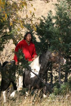 Native American Indian man riding bareback on an Indian pony with war ...