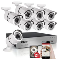 395.99$  Buy here - http://alitfa.worldwells.pw/go.php?t=32785763019 - ZOSI HD 2MP Video Surveillance CCTV System 8CH Full HD 1080P HD TVI AHD DVR Kit 8*1080P Outdoor Security Camera System 2TB 395.99$
