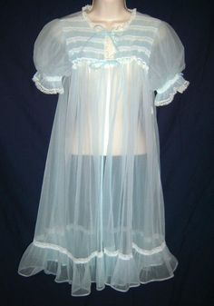 Vintage Chiffon Nightgown (blue) from Angelic Party Shop on Storenvy