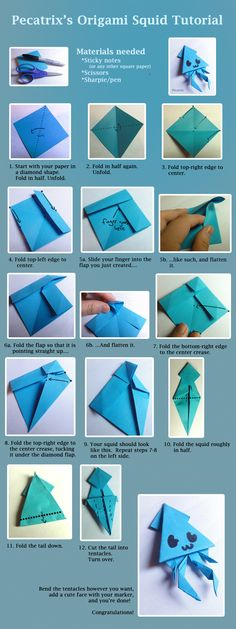Origami Squid Tutorial by pecatrix