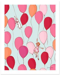 I love the light blue background with the pink balloons, and look at that sweet little bunny!