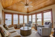 Best room in the house, amazing sitting room on the ocean front at this remodel in Southern Shores, NC Beach Activities, Ocean Views, Cool Rooms, Private Pool, Custom Homes, Banks, Valance Curtains, Southern, Cozy