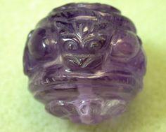 Vintage Carved Gemstone AMETHYST Purple CAT Bead by EurekaEureka