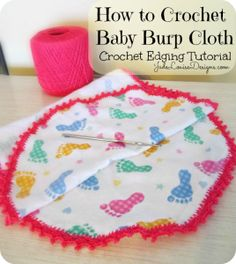 How to Crochet Baby Burp Cloth, Crocheted Lace Edge.