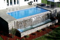 rectangular pool with waterfall | In-Ground Pools and custom options