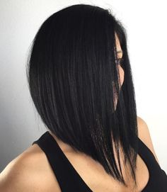 Black Angled Lob For Straight Hair