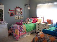 Shared girl boy bedroom - gray-blue walls