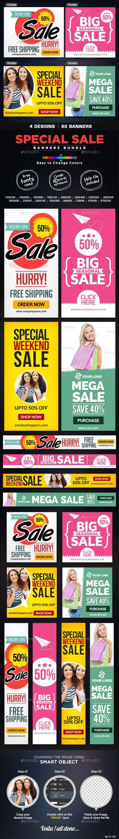 Special #Sale Banner Bundle - 4 Sets Template PSD   Buy and Download: graphicriver.net/...