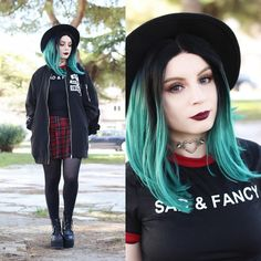 Get this look: http://lb.nu/look/8624785  More looks by Federica D: http://lb.nu/vanillasyndrome  Items in this look:  Romwe Long Bomber, Romwe Sad & Fancy Printed Tee   #edgy #gothic #grunge