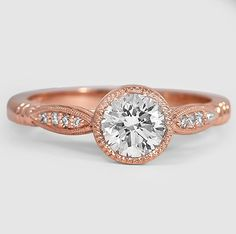 Rose Gold Lyra Diamond Ring set with a Round Lab-Created Diamond #BrilliantEarth