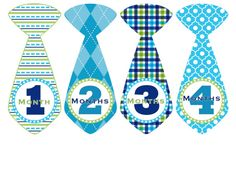 Monthly Baby Stickers Baby Month Stickers Blue Tie Milestone Stickers Boy Monthly Bodysuit Stickers Baby Shower Gift Photo Prop Cameron2 on Etsy, $11.00