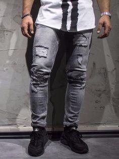 ADJ Men Slim Fit Mis Ripped Destroyed  Jeans - Gray