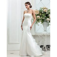 Trumpet/Mermaid Strapless Sweep/Brush Train Satin Wedding Dress (631183) – EUR € 105.59