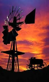 Windmill at Sunset Farm Windmill, Old Windmills, Country Scenes, Le Far West, Water Tower, Old Farm, Le Moulin, Beautiful Sunset, Ciel