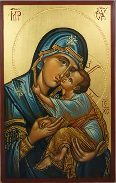 Virgin Mary Sweet Loving (engraved halo) Hand-Painted Icon - BlessedMart