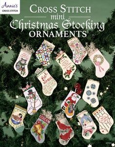 Cross Stitch mini Christmas Stocking Ornaments  by DebiCreations