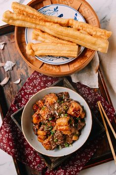 Chinese beef stir-fry with youtiao (chinese fried dough)