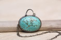 Rustic Turquoise Necklace Oxidized Sterling Silver by MangoJewels, $70.00