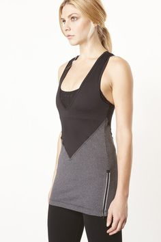 Vimmia Deep V Layering Tunic in Heather Black Mini Stripe