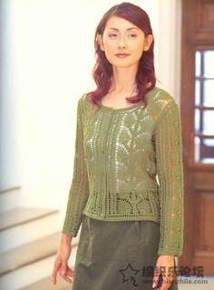 crochelinhasagulhas: Cardigan verde em crochê