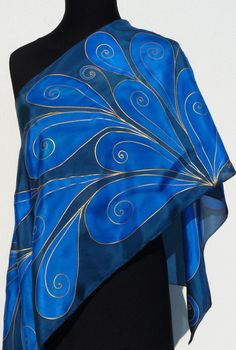 Navy blue silk scarf handpainted Gold art deco leaves Pure