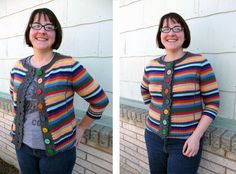 pullover turned cardigan