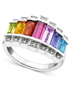Sterling Silver Ring, Multi-Stone and Diamond Accent