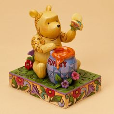 Jim Shore Disney Enesco Winnie Pooh Butterfly Honey Pot Figurine
