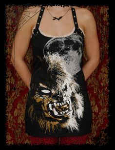 Horror shirt Halloween top Werewolf Tunic by kittyvampdesigns