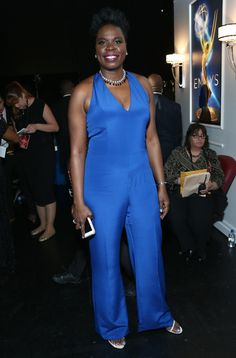 Christian Siriano Explains His Epic 9 Emmys Looks - Leslie Jones in a blue jumpsuit