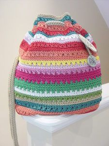 The Sak Sasha Crochet Beach Stripe Drawstring Backpack Shoulder Bag Tote | eBay