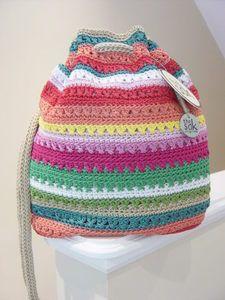 The Sak Sasha Crochet Beach Stripe Drawstring Backpack Shoulder Bag Tote | eBay