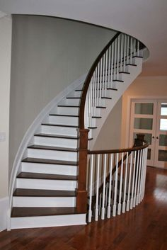 Superb Curved Paint Grade Custom Wood Stairs With Hardwood Tread