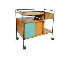 Raymore Wrought Iron And Slatwood Serving Cart