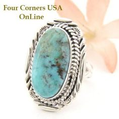 Dry Creek Turquoise Oval Stone Ring Size 7 Navajo Virgil Chee Four Corners USA OnLine Native American Silver Jewelry NAR-1455