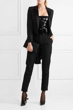 Saint Laurent - Silk Satin-trimmed Wool Tuxedo Blazer - Black - FR44