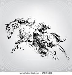 Silhouette of a running horse with a girl