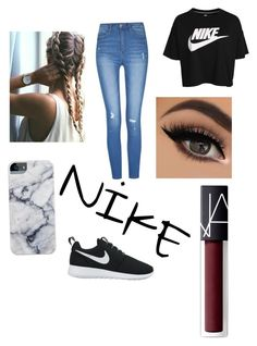 """""""Hmmmm maybe Nike? Lol"""" by breannasm on Polyvore featuring NIKE, NARS Cosmetics and nike"""